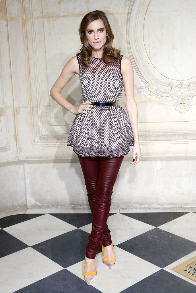 At Christian Dior's haute couture show during Paris Fashion Week, Allison played up her leather pants and tunic with a pair of striking pumps.