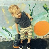 Hilary Duff's son Luca couldn't wait to get to camp.  Source: Instagram user hilaryduff