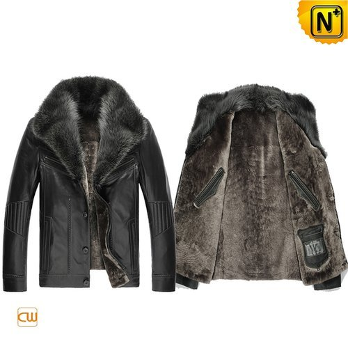 Black Sheepskin Leather Jacket CW851218