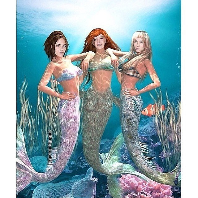 Under the sea, Cara, Georgia May Jagger, and Suki Waterhouse made an alluring mermaid trio.  Source: Instagram user caradelevingne