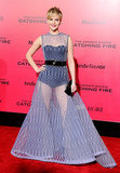 At the LA premiere of The Hunger Games: Catching Fire, Jennifer sported Christian Dior's mesh gown atop a black bodysuit. And while the dress was completely stunning, it definitely made a statement, cementing itself as one of the star's most iconic looks.