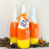 DIY Candy Corn Spray-Painted Bottles