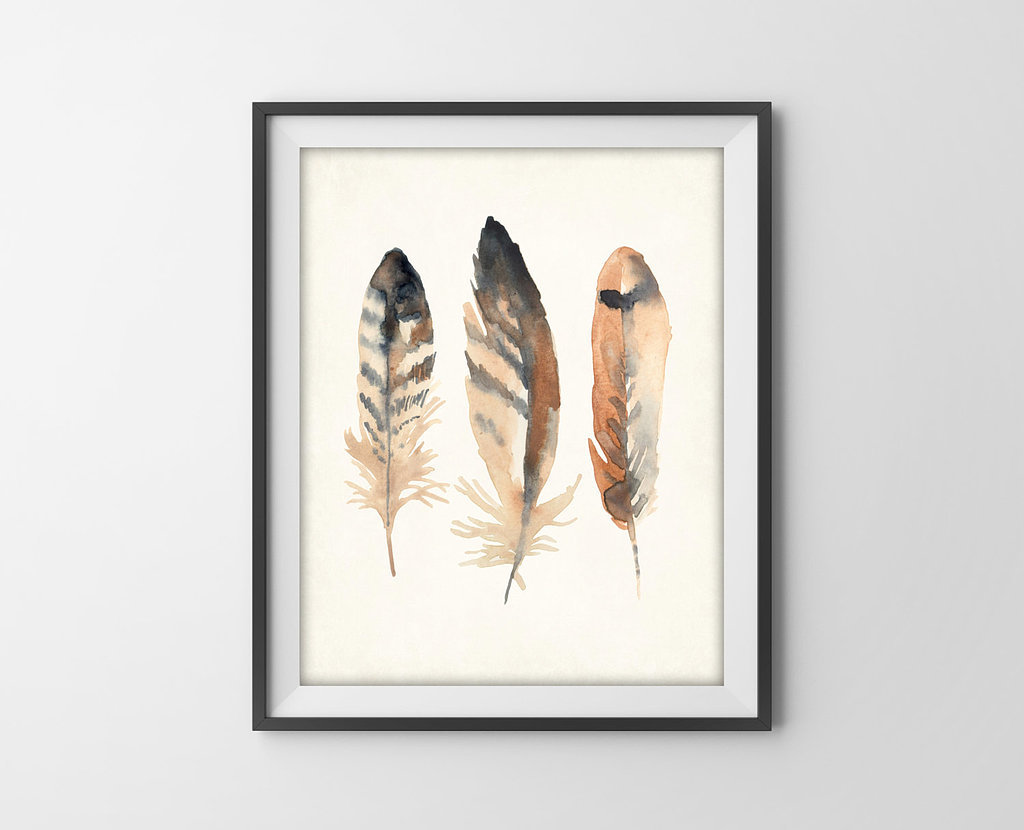 Bird watchers and bohemians alike will appreciate the pretty patterns in this feathers art print (from $9).
