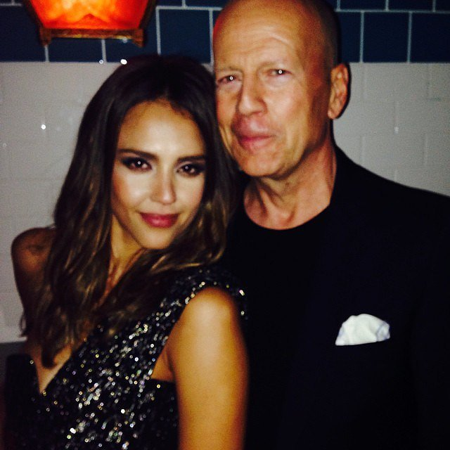 Jessica Alba took a photo with Bruce Willis.  Source: Instagram user jessicaalba