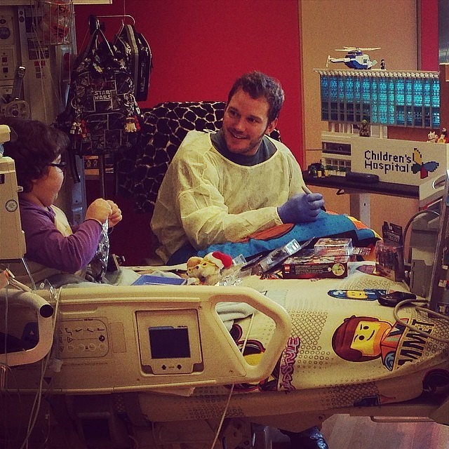 Just when you thought he couldn't get any more lovable, he went and visited sick kids.