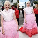 Lena Dunham at the 2014 Emmys in Pink Giambattista Valli