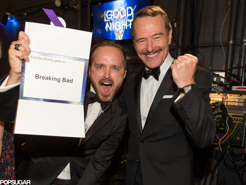 Aaron Paul and Bryan Cranston got excited about their Breaking Bad win.