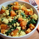 Vegan Breakfast Recipes: Tofu, Kale, Sweet Potato Scramble