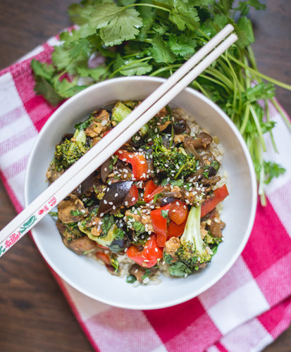 Asian Eggplant and Broccoli with Tempeh