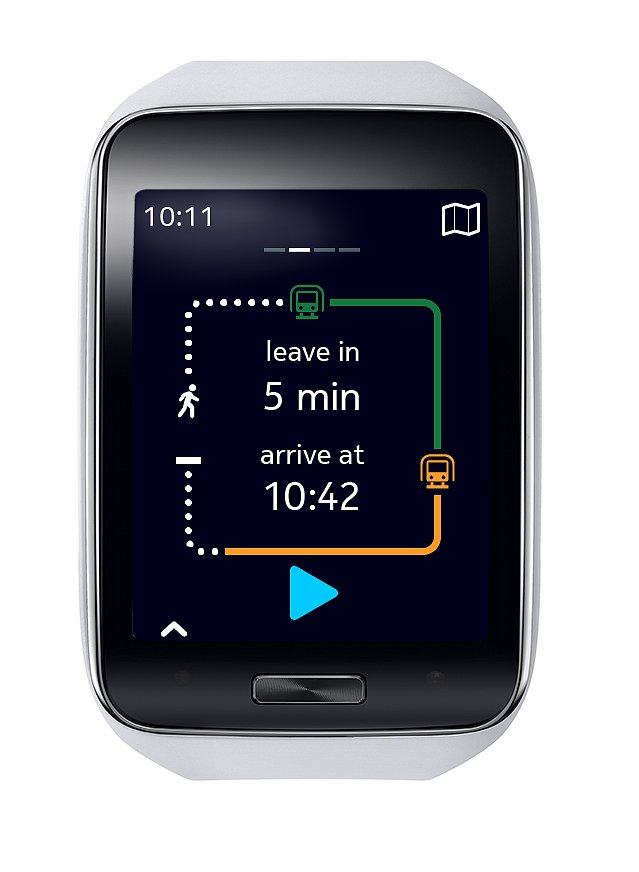 The watch will tell you exactly when you need to leave for your bus. Source: Samsung
