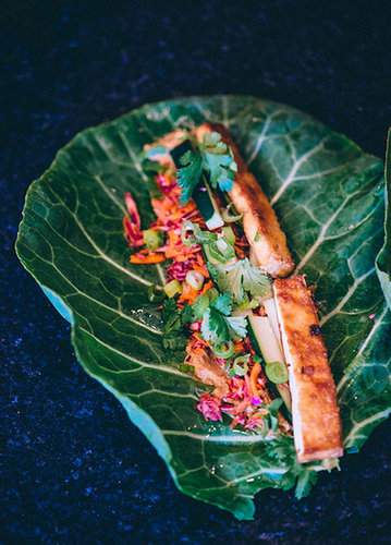 Tofu Banh Mi Collard Wraps with Wasabi Peanut Sauce