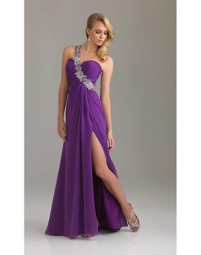 Sequined One Shoulder Column Evening Dress