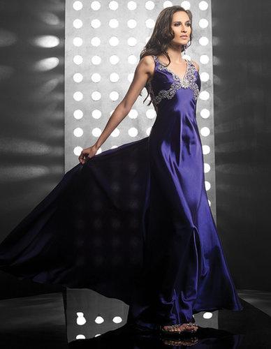 V-Neck Long Dark Purple Sheath Evening Dress