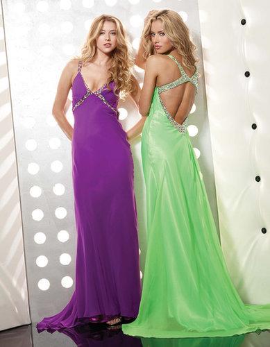 Purple V-Neck Long Beading Evening Dress