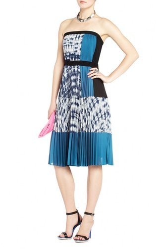 $175.00 BCBG GEORGETTE STRAPLESS PLEATED COCKTAIL DRESS