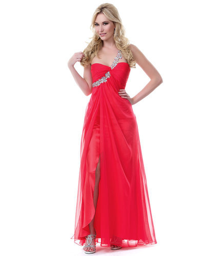 Chiffon One Shoulder Long Red Prom Dress