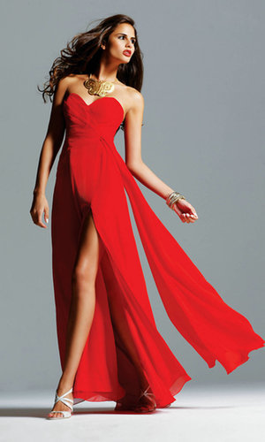 Chiffon Long Strapless Red Prom Dress