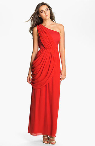 One Shoulder Chiffon Red Prom Dress