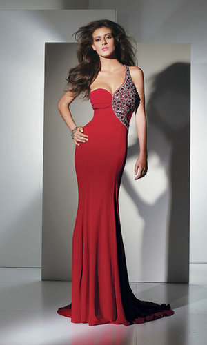 Long One Shoulder Red Prom Dress