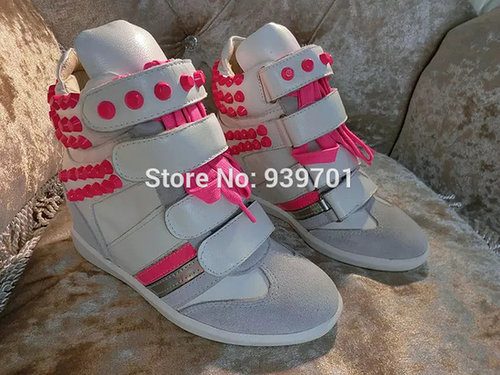 $125.00 Isabel Marant Brand Shoes Rivets Velcro Leather Wedge Sneaker