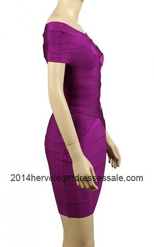 Short Sleeves Carmen Purple Herve Leger Bandage Dresses