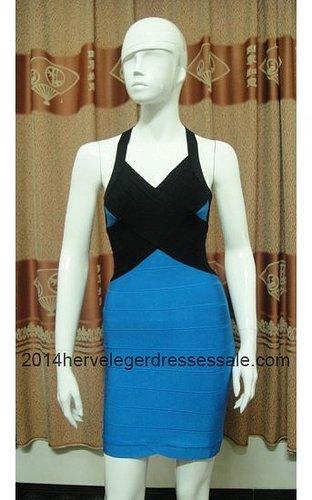 Cross Straps V-Neck Herve Leger Blue Dresses 2014 [Blue Herve Leger V-neck Dresses] - $164.00 : 2014 Herve Leger | Cheap Herve L