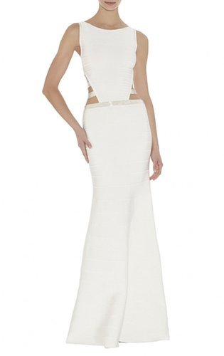£102.00 HERVE LEGER Jamari Beaded-Strapping Dresses White