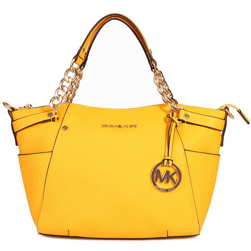 $190.00 MICHAEL BY MICHAEL KORS CHAIN HANDLE TOTE YELLOW