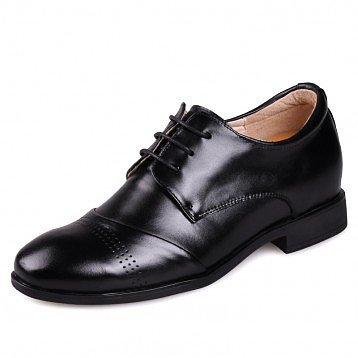Low Heel Comfort Oxfords Elevator Shoes Black Calf Leather Dress Formal Shoe Tall 6cm / 2.5Inches