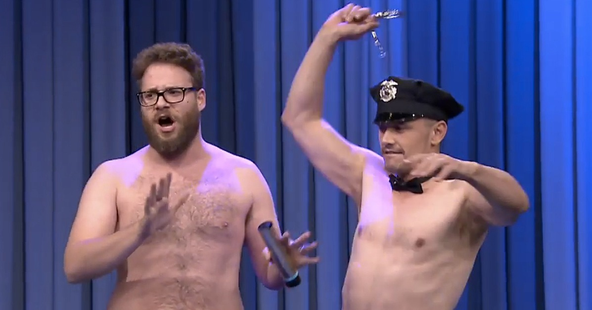 Shirtless Seth Rogen and James Franco Surprise Jimmy Fallon on His B'Day