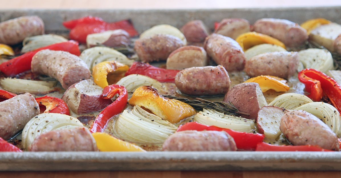 One-Pot (or Rather, Pan) Roasted Italian Sausage, Peppers, and Onions