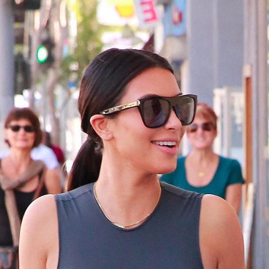 Kim Kardashian Wears a Sheer Top