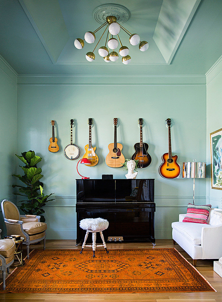Unique wall art 12 ways to step up your living room for Room decorating ideas music