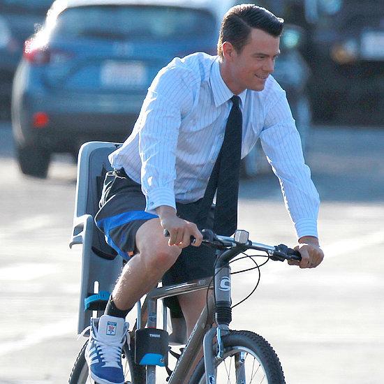 Josh Duhamel Riding His Bike on Set   Pictures