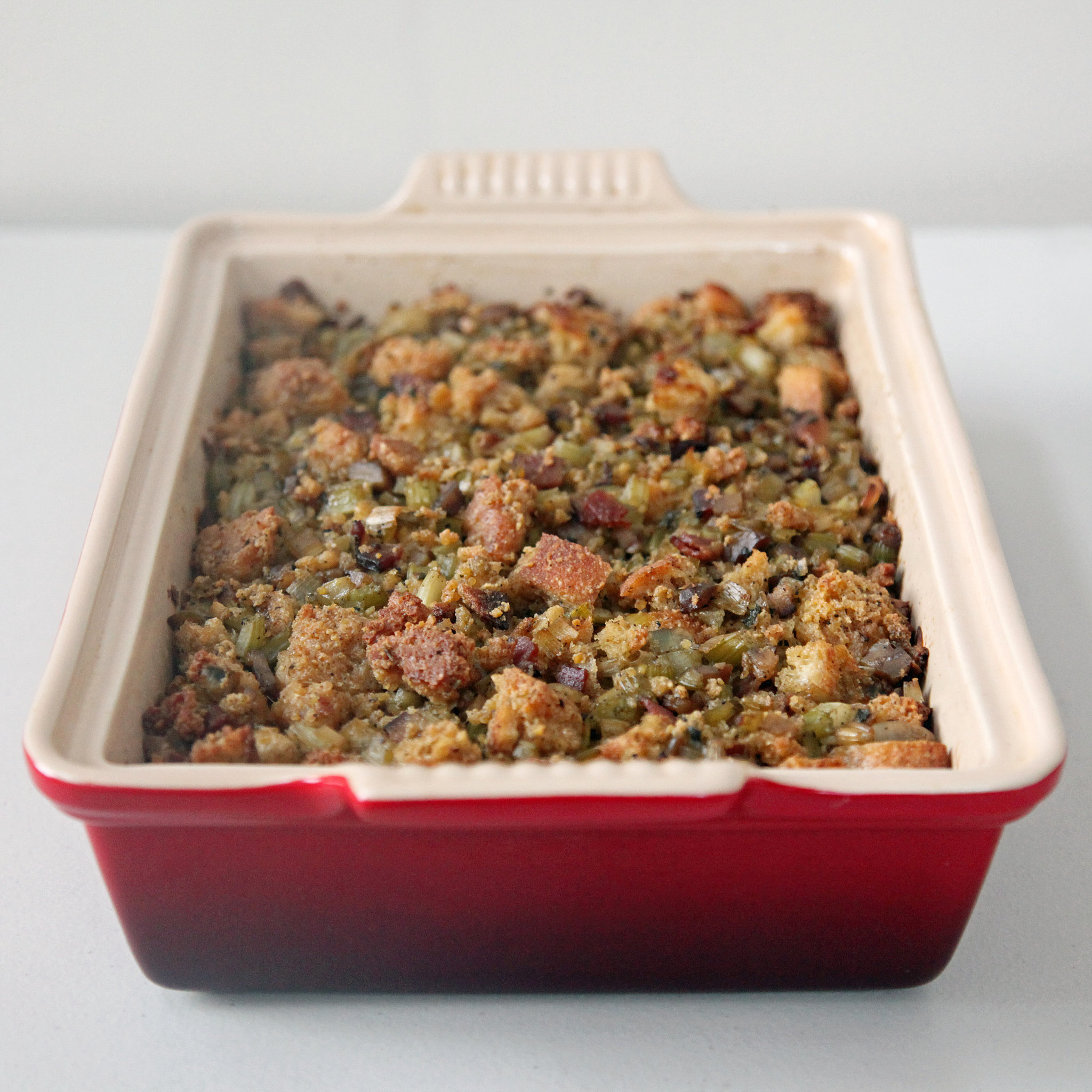 cornbread dressing with chestnuts and bacon popsugar food