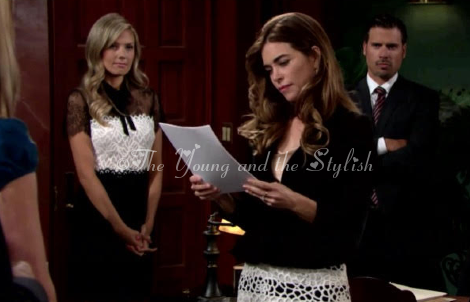 victoria newman lace striped skirt the young and the restless