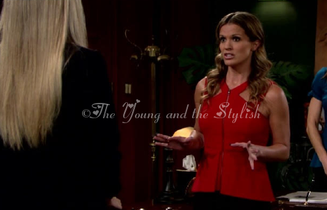 chelsea newman red zipper halter top the young and the restless