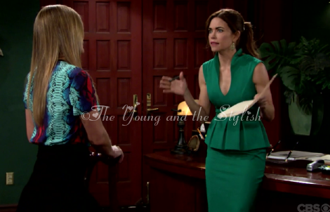 victoria newman green peplum dress the young and the restless