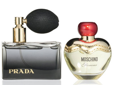 Woodsy scents Prada L'Eau Ambree eau de parfum splash deluxe ($117 for 2.7 oz., neimanmarcus.com) Moschino Glamour eau de parfum ($62 for 1.7 oz., bloomingdales.com)