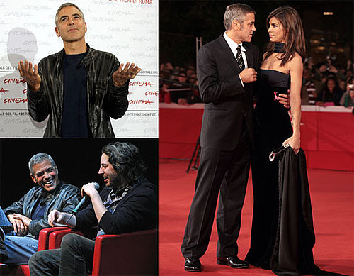 Photos of George Clooney With Girlfriend Elisabetta Canalis Promoting Up in The Air in Rome