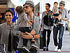 Photos of Halle, Gabriel, and Nahla at the Airport