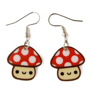 Nintendo-Inspired Mushroom Earrings