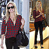 Kristin Cavallari Shops in LA Wearing Red Plaid Elizabeth and James Shirt and Alexander Wang Stud Bag