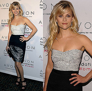 Reese Witherspoon Attends Avon Event Wearing Narciso Rodriguez Strapless Dress