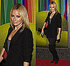 "Actress Becki Newton Wears a Blazer and Over the Knee Boots to ""Finian's Rainbow"" Broadway Opening Night"