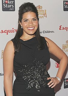Photo of America Ferrera Wearing Safety Pin Moschino Dress in NYC