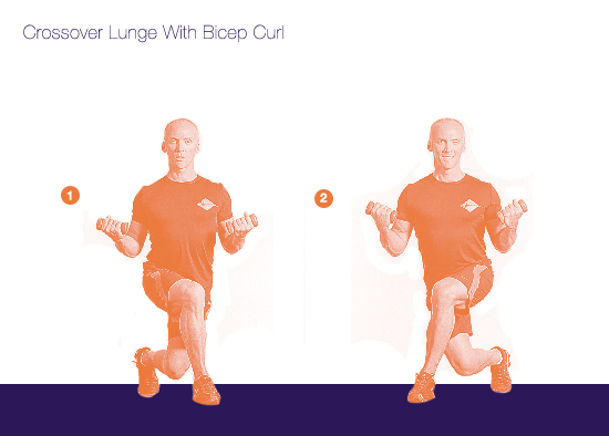 Crossover Lunge With Bicep Curl