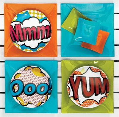 Contribute some easy dinner conversation with these Comic Appetizer Plates ($1.50).