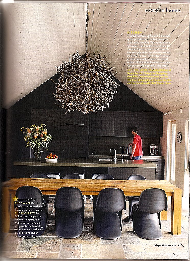 Living Etc featured a beautiful, massive chandelier in a modern home. I love the impact that this clustered, natural element adds to the spare, modern space.