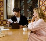 Arthur (James Marsden) and Norma ponder the mysterious box over morning coffee. The dining room wallpaper is what I'm pondering, though.